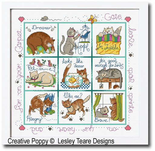 Cats in trouble cross stitch pattern by Lesley Teare Designs