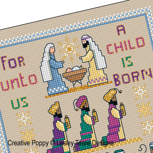 Lesley Teare Designs - Christmas nativity sampler zoom 1 (cross stitch chart)