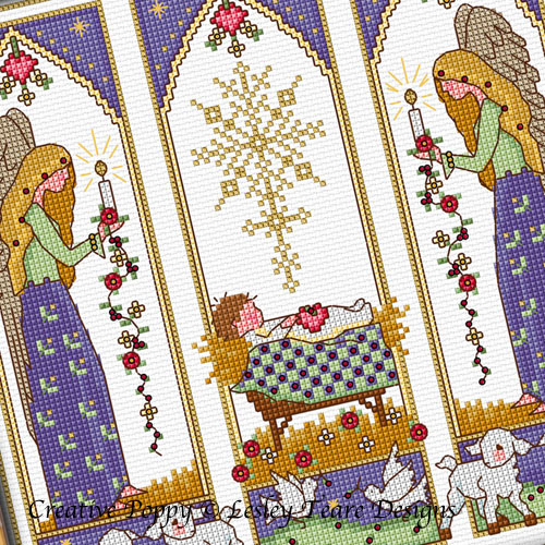 Lesley Teare Designs - Christmas Nativity Windows zoom 1 (cross stitch chart)