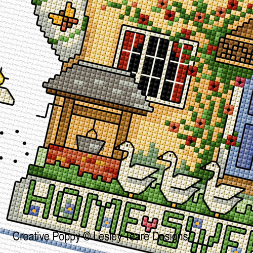 Cottage Teapot cross stitch pattern by Lesley Teare designs, zoom 1