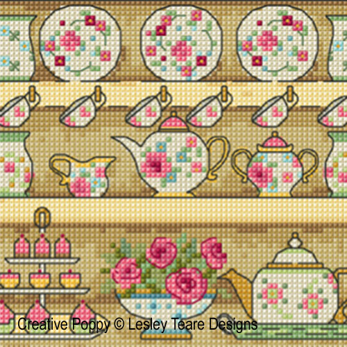 Country Kitchen Dresser cross stitch pattern by Lesley Teare designs, zoom 1