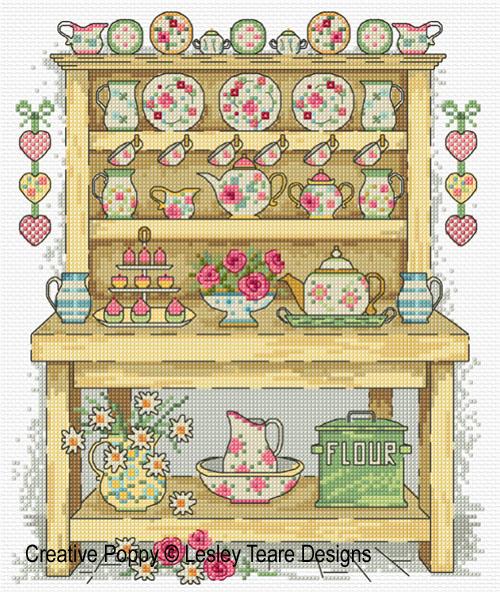 Country Kitchen Dresser cross stitch pattern by Lesley Teare designs