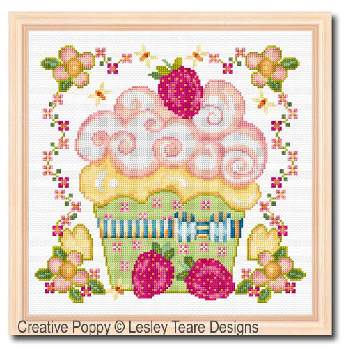 Creamy Cupcake cross stitch pattern by Lesley Teare Designs