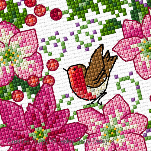 December Flowers cross stitch pattern by Lesley Teare, zoom 1