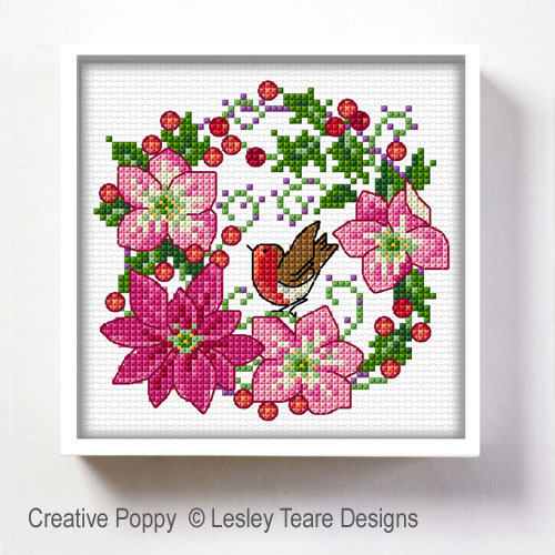 December Flowers cross stitch pattern by Lesley Teare