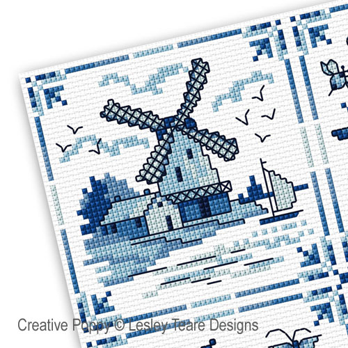 Decorative delft Tiles cross stitch pattern by Lesley Teare Designs, zoom 1