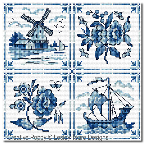 Decorative delft Tiles cross stitch pattern by Lesley Teare Designs