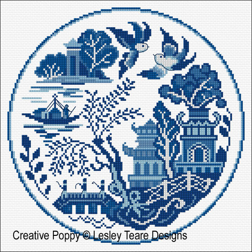 Decorative Willow Plate cross stitch pattern by Lesley Teare designs