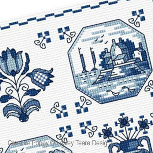 Delft Tiles cross stitch pattern by Lesley Teare Designs, zoom 1