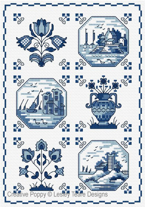 Delft Tiles cross stitch pattern by Lesley Teare Designs