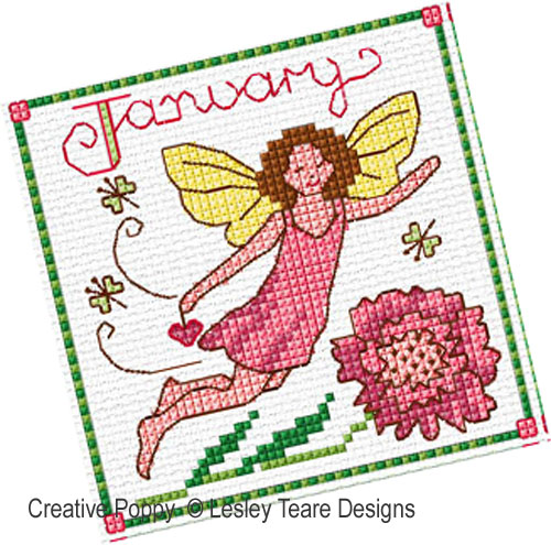 Birthday Fairies (January to April) cross stitch pattern by Lesley Teare Designs, zoom 1