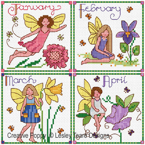 Birthday Fairies (January to April) cross stitch pattern by Lesley Teare Designs