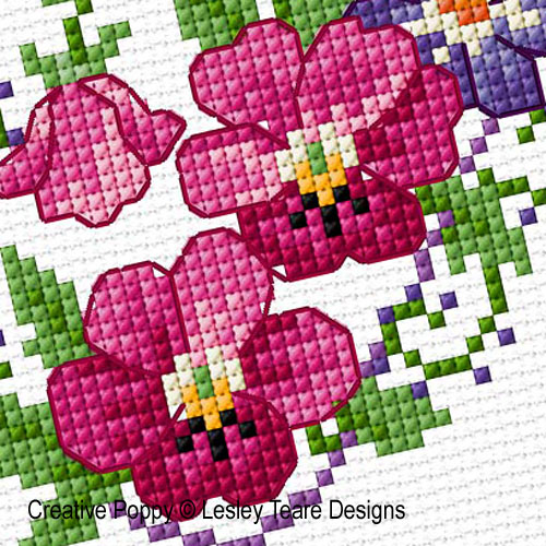 February Flowers cross stitch pattern by Lesley Teare Designs, zoom 1