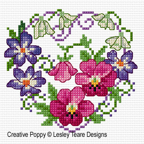 February Flowers cross stitch pattern by Lesley Teare Designs