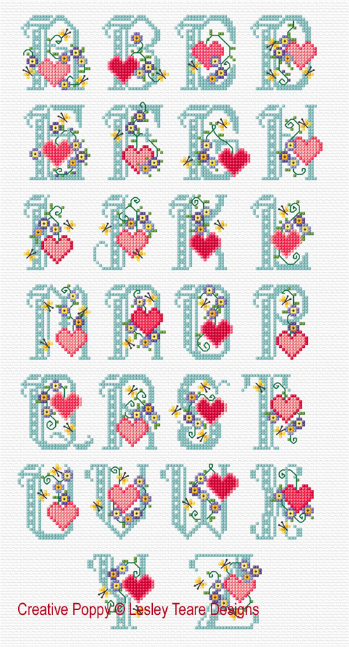 Floral Hearts ABC cross stitch pattern by Lesley Teare designs