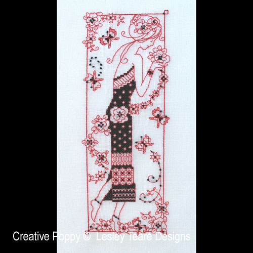 Blackwork Lady cross stitch pattern by Lesley Teare Designs