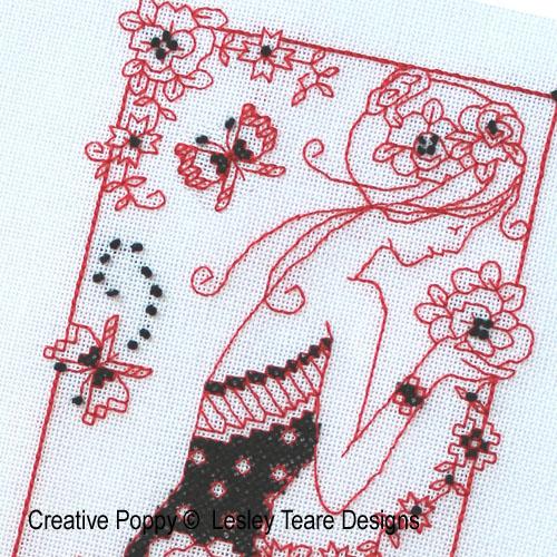 Lesley Teare Designs - Floral Blackwork Lady zoom 1