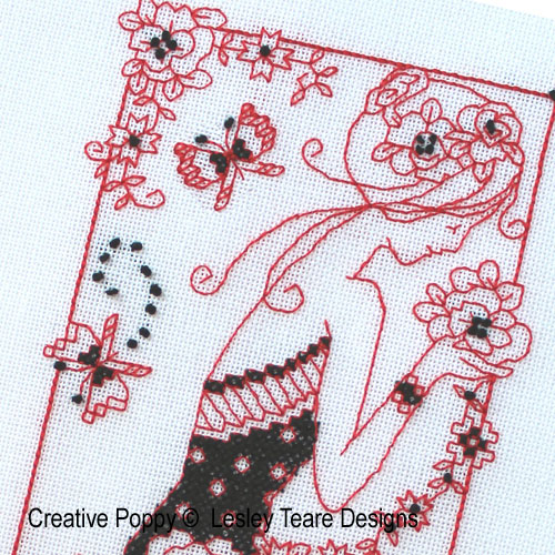 Blackwork Lady cross stitch pattern by Lesley Teare Designs, zoom 1