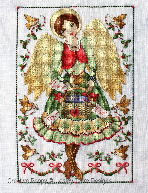 Folk Art Angel cross stitch pattern by Lesley Teare Designs