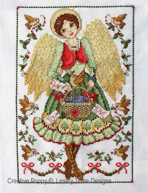 Folk Art Angel cross stitch pattern by Lesley Teare Designs