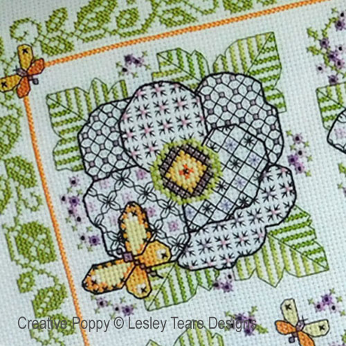 Four Blackwork Flowers cross stitch pattern by Lesley Teare Designs