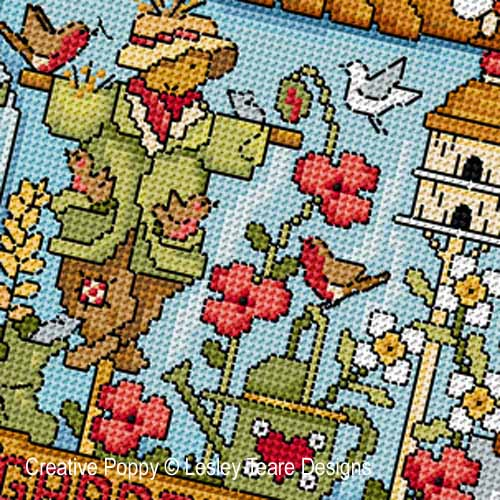 Garden Days cross stitch pattern by Lesley Teare Designs, zoom 1
