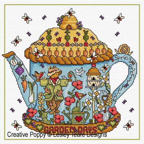 Garden Days cross stitch pattern by Lesley Teare Designs