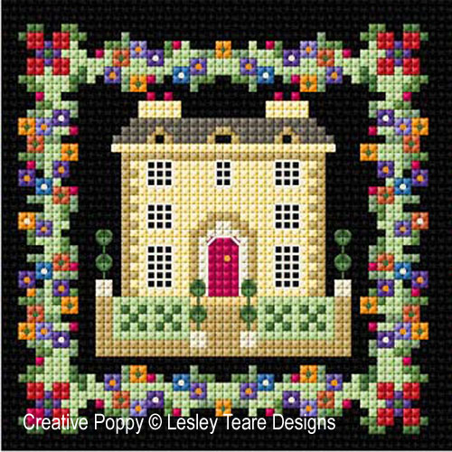 Georgian Houses cross stitch pattern by Lesley Teare designs, zoom 1