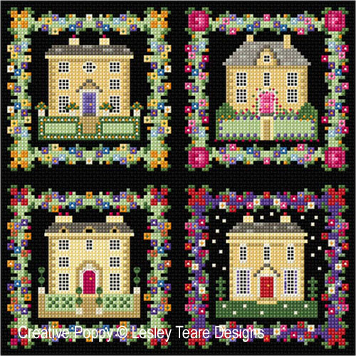 Georgian Houses cross stitch pattern by Lesley Teare designs
