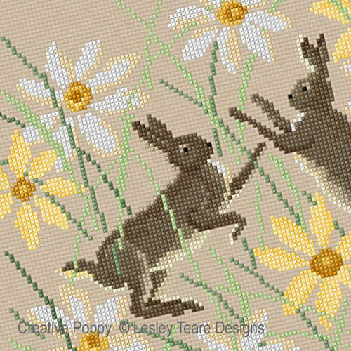 Hares boxing cross stitch pattern by Lesley Teare Designs, zoom 1