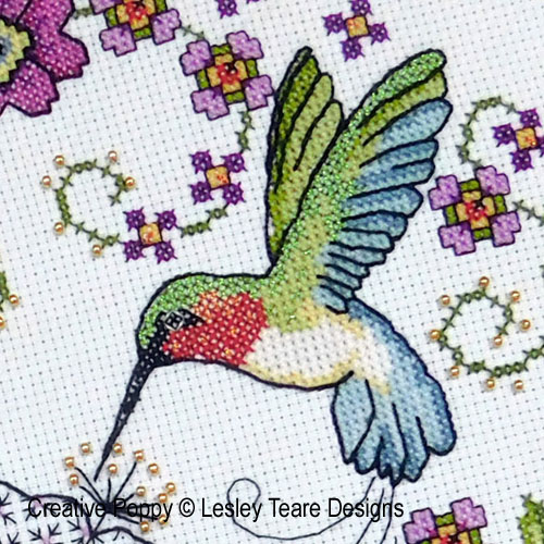 Hibiscus and Hummingbird cross stitch pattern by Lesley Teare designs
