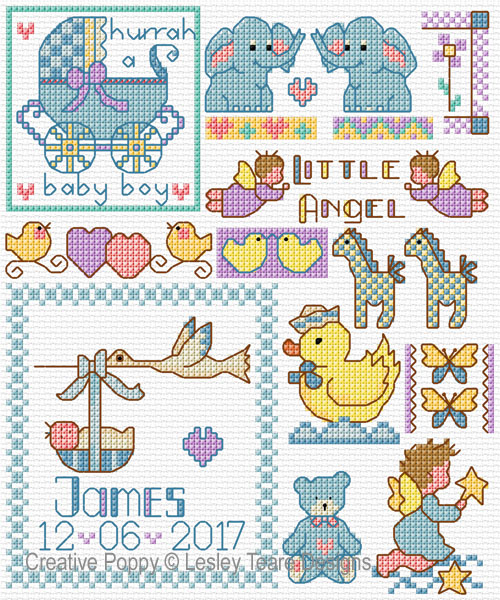 Motifs for Baby Gifts cross stitch pattern by Lesley Teare Designs