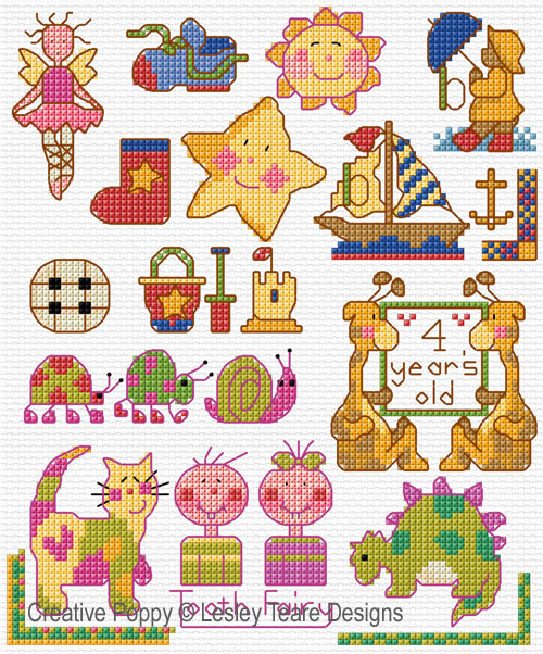 Motifs for tiny Toddlers cross stitch pattern by Lesley Teare Designs