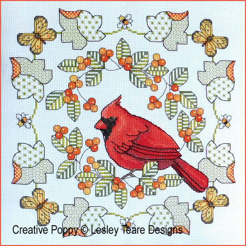 Northern Cardinal in Autumn cross stitch pattern by Lesley Teare Designs