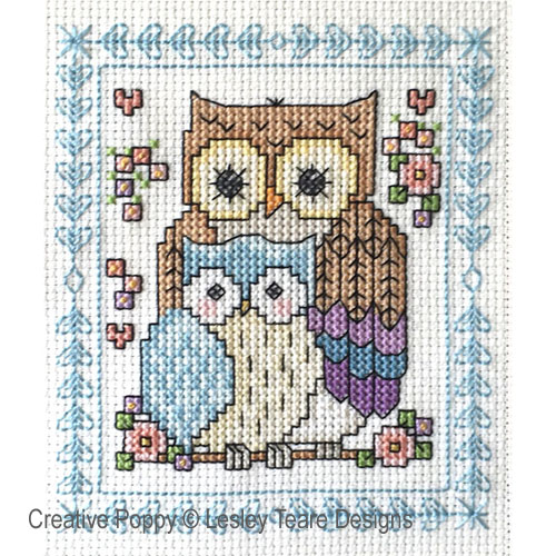 Owl sampler cross stitch pattern by Lesley Teare designs, zoom 1