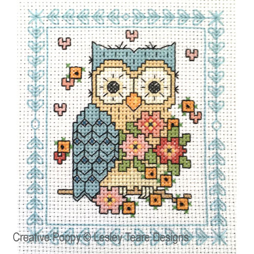 Owl sampler cross stitch pattern by Lesley Teare designs