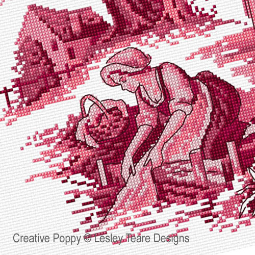 Pink Toile de Jouy cross stitch pattern by Lesley Teare Designs, zoom 1