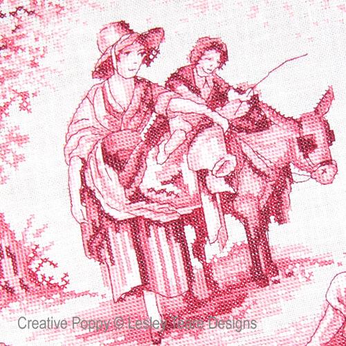 Pink Toile de Jouy cross stitch pattern by Lesley Teare Designs
