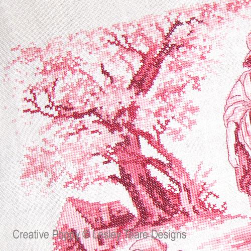 Pink Toile de Jouy cross stitch pattern by Lesley Teare Designs, zoom 1