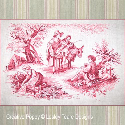 Toile de Jouy (Pink) cross stitch pattern by Lesley Teare Designs