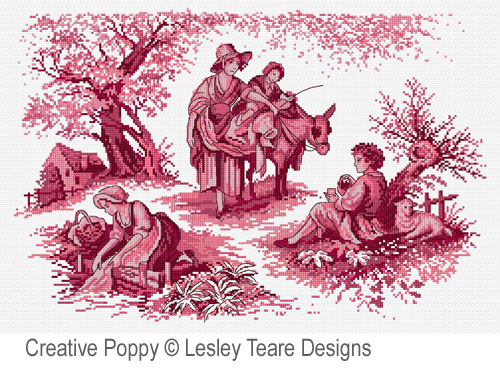 Pink Toile de Jouy cross stitch pattern by Lesley Teare Designs