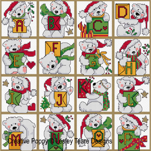 Polar Bear Alphabet cross stitch pattern by Lesley Teare Designs