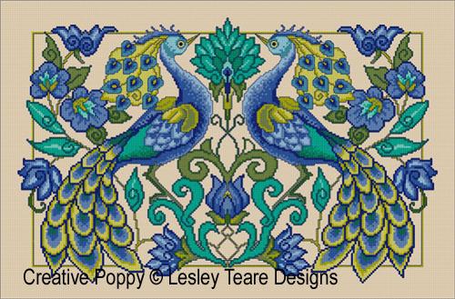 Proud Peacocks cross stitch pattern by Lesley Teare Designs