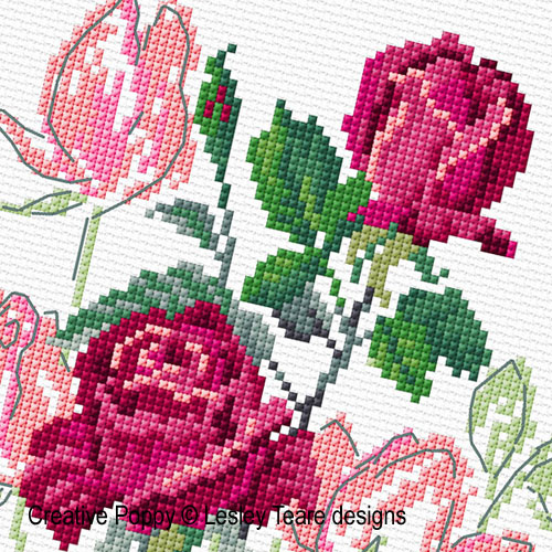 Delicate Roses cross stitch pattern by Lesley Teare Designs