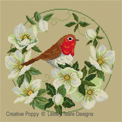 Lesley Teare Designs - Robin with Christmas Roses (cross stitch chart)