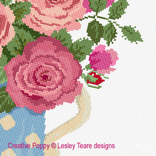 Roses in  Bloom cross stitch pattern by Lesley Teare Designs, zoom 1