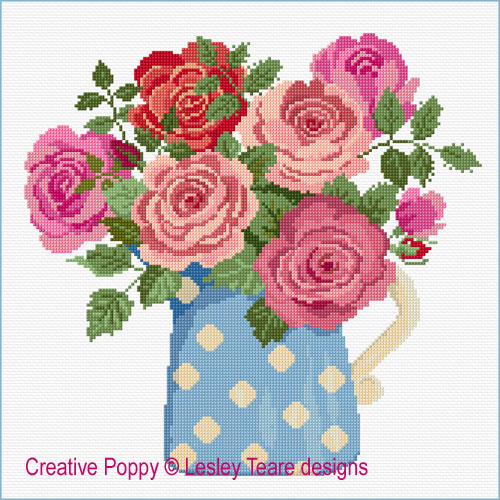 Roses in  Bloom cross stitch pattern by Lesley Teare Designs