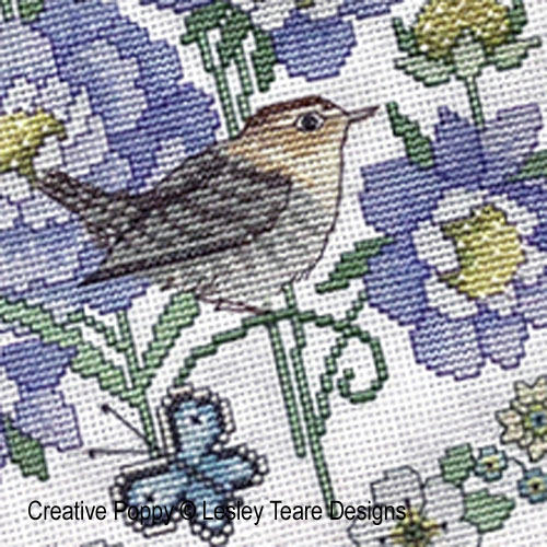 Scabious and Wren cross stitch pattern by Lesley Teare Designs, zoom 1