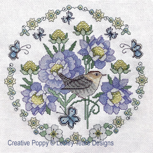 Scabious and Wren cross stitch pattern by Lesley Teare Designs