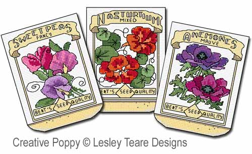 Seed Packets cross stitch pattern by Lesley Teare Designs